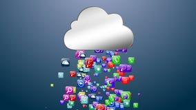 云彩存储介质数据 弧 网上数据存储 3d例证 库存照片