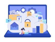 云彩存贮安全 数据存储安全概念 数据处理 E 也corel凹道例证向量 库存例证