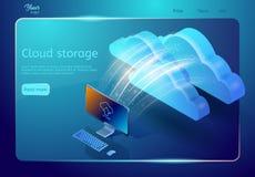 云彩存贮网页模板 抽象设计观念 等量传染媒介例证 免版税库存图片