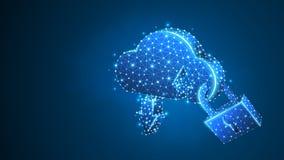 云彩存贮,安全锁标志 多角形互联网服务器保护,密码,保密性概念 r 皇族释放例证