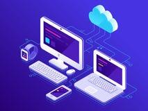 云彩存贮 计算机设备被连接到数据服务器 便携式计算机片剂和智能手机安全连接 向量例证