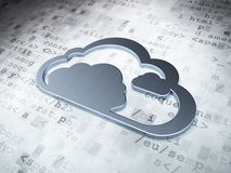 云彩技术概念:在数字式背景的银色云彩 免版税库存图片