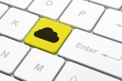 云彩技术概念:在键盘背景的云彩 免版税库存图片