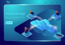 云彩数据存储网页模板 等量传染媒介例证 抽象设计观念 免版税库存照片