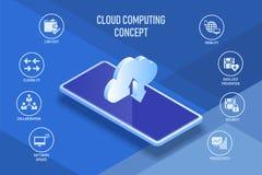 云彩智能手机和通讯技术概念 库存图片