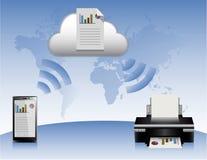 云彩智能手机打印机 免版税库存图片