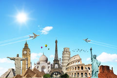 云彩概念旅行世界 库存照片