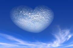 从云彩的心脏在天空 免版税库存照片