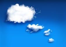 云彩的想象力在蓝色背景的 库存图片