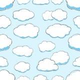 云彩的无缝的样式在蓝天的 库存例证