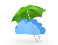 云彩的标志在绿色伞下。 免版税库存照片