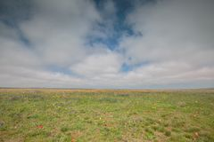 云彩的运动在春天在C的干草原零件 库存照片