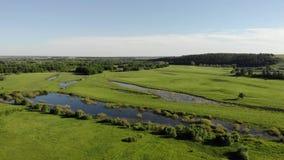 云彩的鸟瞰图运动在天空蔚蓝的和美丽的绿色草甸和湖 股票录像