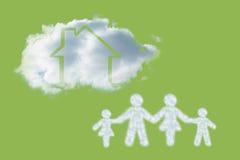云彩的综合图象在家庭形状的  免版税库存图片