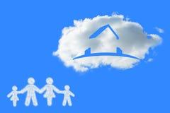 云彩的综合图象在家庭形状的  库存照片