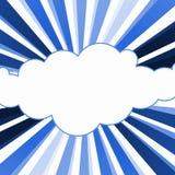 云彩蓝色光芒框架边界 免版税库存图片