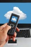 云彩计算和现有量电话技术 图库摄影