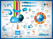 云彩计算的图形的Infographics要素 免版税库存图片