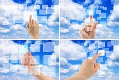 云彩计算的概念现有量妇女 免版税库存图片
