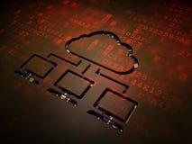 云彩计算的概念:在数字式屏幕背景的云彩网络 免版税库存照片