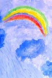 云彩雨彩虹风暴水彩 免版税库存照片