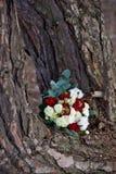 云杉、玫瑰和棉花美丽的冬天花束  新娘` s花束 免版税库存照片