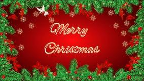 云杉和杉木的锥体分支的圣诞快乐框架录影 股票视频