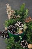 从云杉的分支的冬天构成, pinecone,在葡萄酒的坚果在黑暗的背景抢劫 免版税库存图片