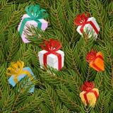 云杉的枝杈和礼物无缝的样式 圣诞节我的投资组合结构树向量版本 免版税库存照片