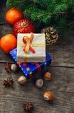 云杉的蜜桔圣诞节 库存图片