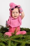 云杉的针的女婴 图库摄影