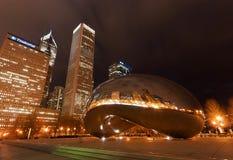 云门在晚上,芝加哥 免版税图库摄影