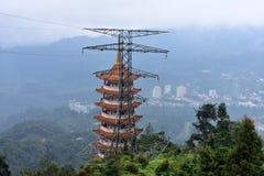 云顶高原,马来西亚- 2017年11月2日:云顶高原奇恩角Swee使寺庙陷下 免版税库存照片
