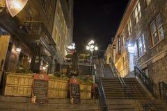 云香小的Champlain在魁北克市,加拿大在晚上 库存照片