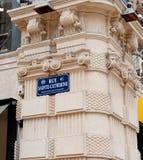 云香Sainte凯瑟琳,路牌,红葡萄酒,法国-一部分的 库存照片