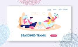 互相显示有旅行的地方的图片的年轻人和妇女片剂 挑选旅行路线为假期,小配件 向量例证
