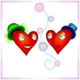 互相看充满爱的两个心脏恋人 免版税库存图片