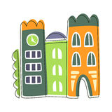 互相被困住的狭窄议院,逗人喜爱的童话城市风景元素被概述的动画片例证 库存例证