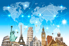 互相被连接的世界的著名地标 免版税库存照片