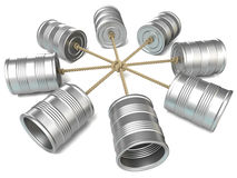 互相被连接的锡罐电话 3d回报 库存图片