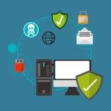 互联网与安全相关的象图象 库存例证