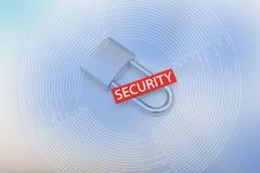 互联网与挂锁和词的安全概念 库存照片