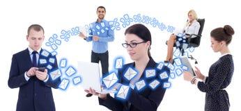互联网企业概念-有流动酸碱度的年轻商人 免版税库存图片