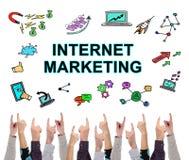 互联网几个手指指向的营销概念 库存照片