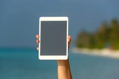 互联网和通信的概念 空白的空的片剂comput 免版税库存图片