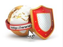 互联网安全。地球、浏览器地址线和盾。