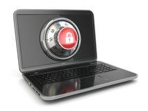 互联网安全。膝上型计算机和安全锁。 库存例证