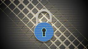 互联网安全概念,在数字资料背景的开放红色挂锁 库存例证