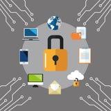 互联网安全设计 系统象 五颜六色的例证,传染媒介 免版税图库摄影
