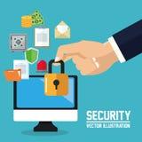 互联网安全设计 系统象 五颜六色的例证,传染媒介 免版税库存照片